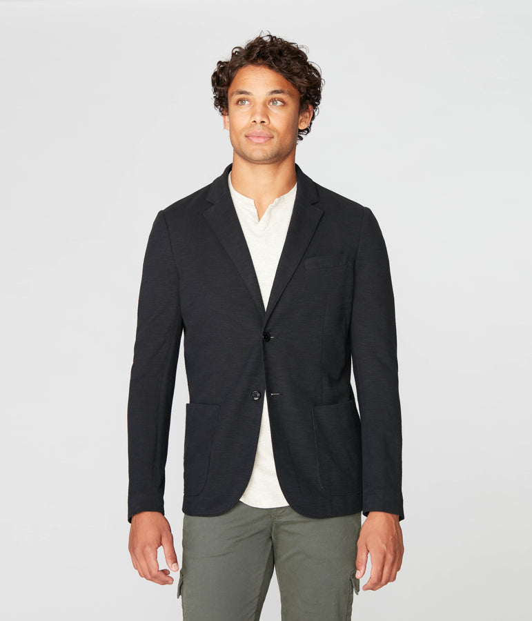 Downtown Soft Blazer in Soft Slub Jersey - Black - Good Man Brand