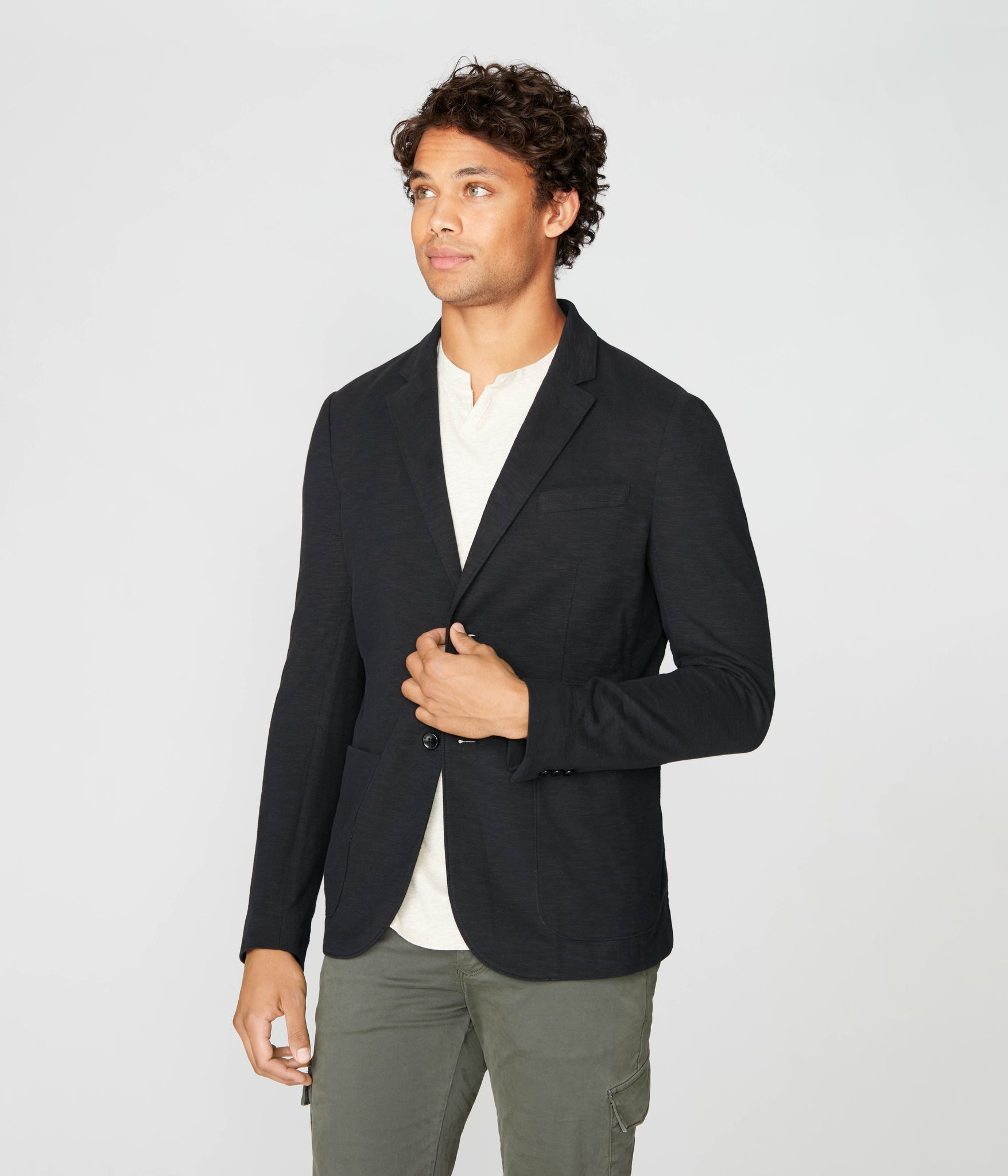 Downtown Soft Blazer in Soft Slub Jersey - Black