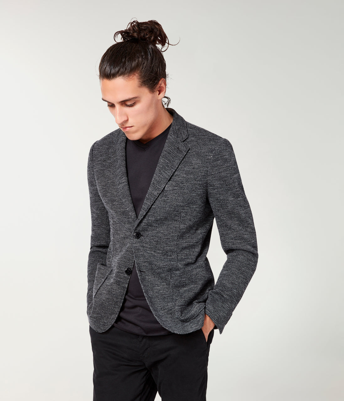 Bi-Color Birdseye Soft Blazer - Black - Good Man Brand - Bi-Color Birdseye Soft Blazer - Black