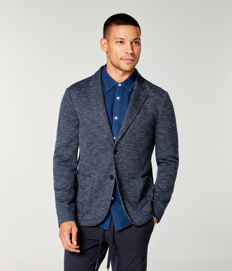 Bi-Color Birdseye Soft Blazer - Sky Captain - Good Man Brand
