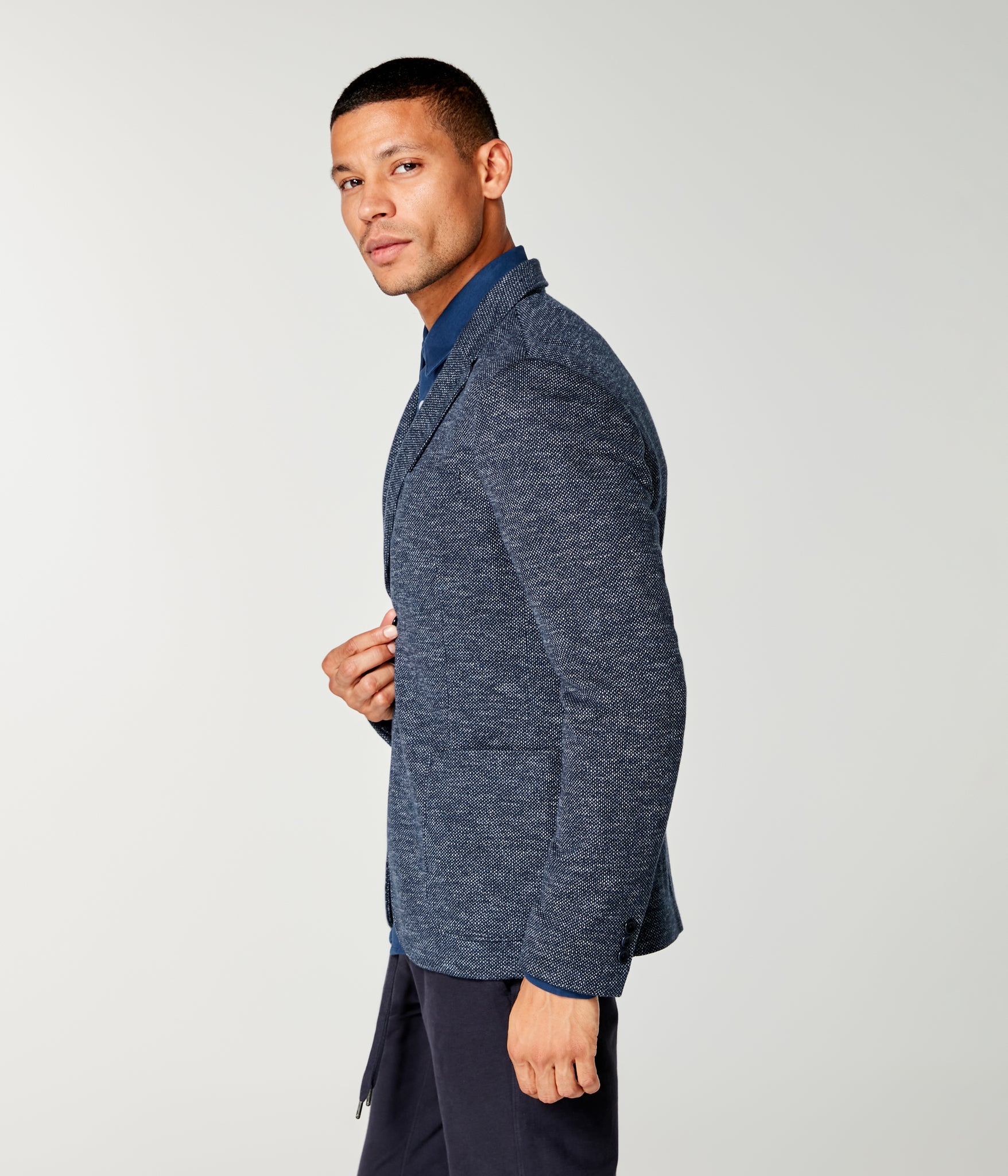 Bi-Color Birdseye Soft Blazer - Sky Captain