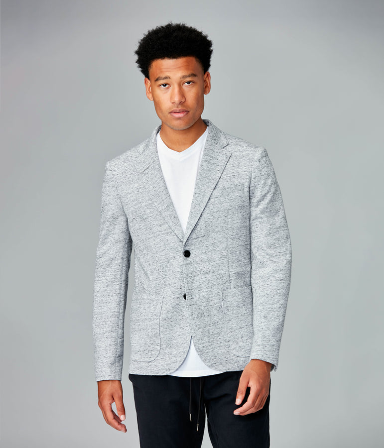 Soft Vintage Twill Blazer - Grey Heather / White - Good Man Brand