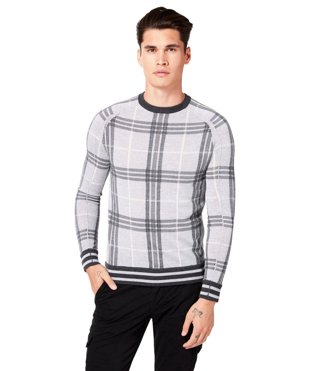 MVP Crew Intarsia Plaid Sweater - Grey - Good Man Brand - MVP Crew Intarsia Plaid Sweater - Grey