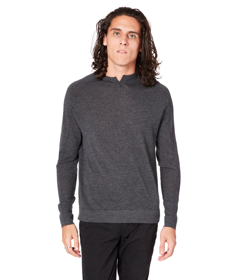 MVP V-Notch Sweater - Charcoal Heather - Good Man Brand