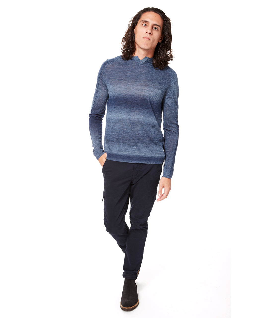 MVP V-Notch Spacedye Sweater - Indigo - Good Man Brand - MVP V-Notch Spacedye Sweater - Indigo