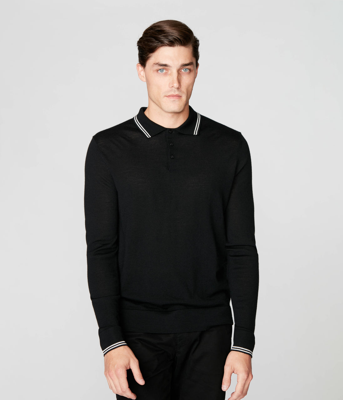 Match Point Polo in Merino Wool - Black - Good Man Brand - Match Point Polo in Merino Wool - Black
