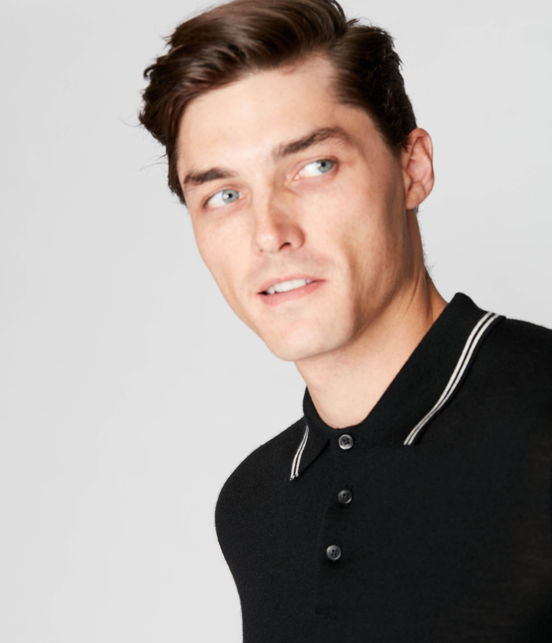 Match Point Polo in Merino Wool - Black