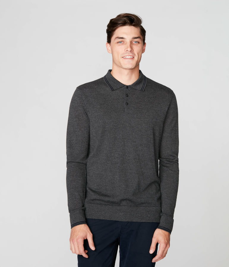 Match Point Polo in Merino Wool - Charcoal - Good Man Brand