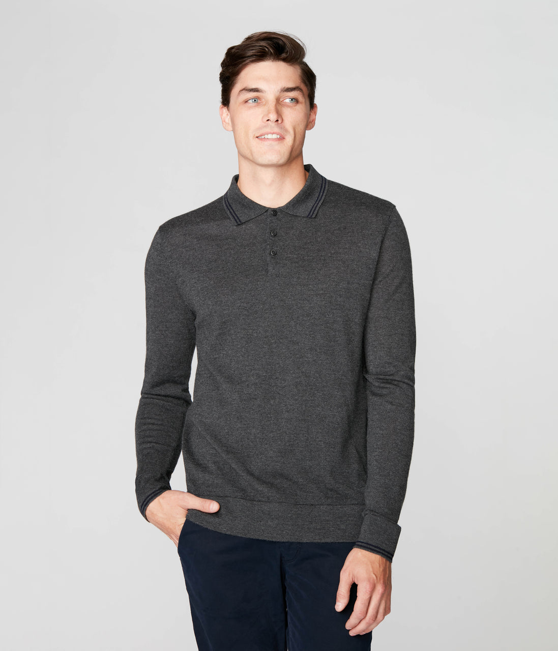 Match Point Polo in Merino Wool - Charcoal - Good Man Brand - Match Point Polo in Merino Wool - Charcoal