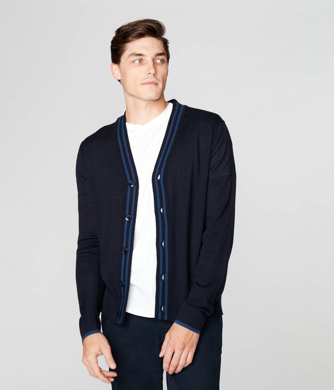 Edge Cardigan in Merino Wool - Navy - Good Man Brand - Edge Cardigan in Merino Wool - Navy