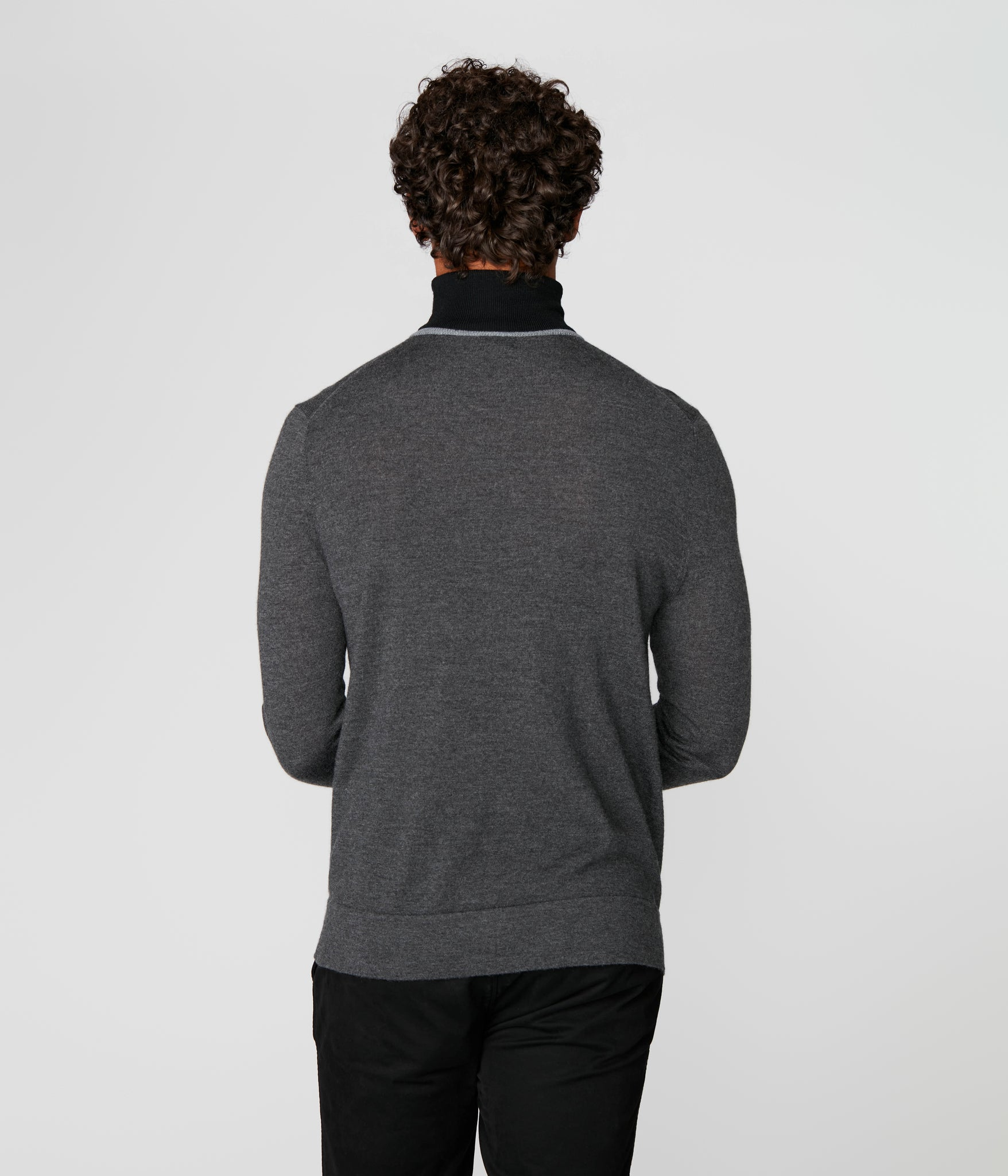 Icon Turtleneck in Merino Wool - Charcoal Heather