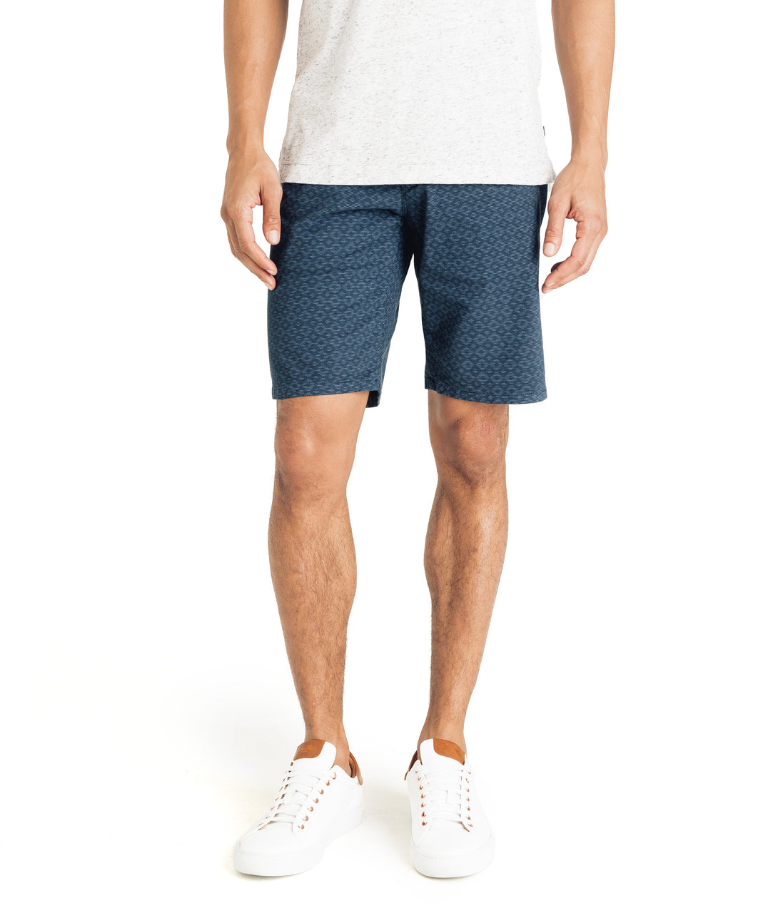 Monaco Diamond Stripe Stretch Twill Wrap Short - Denim Blue - Good Man Brand - Monaco Diamond Stripe Stretch Twill Wrap Short - Denim Blue