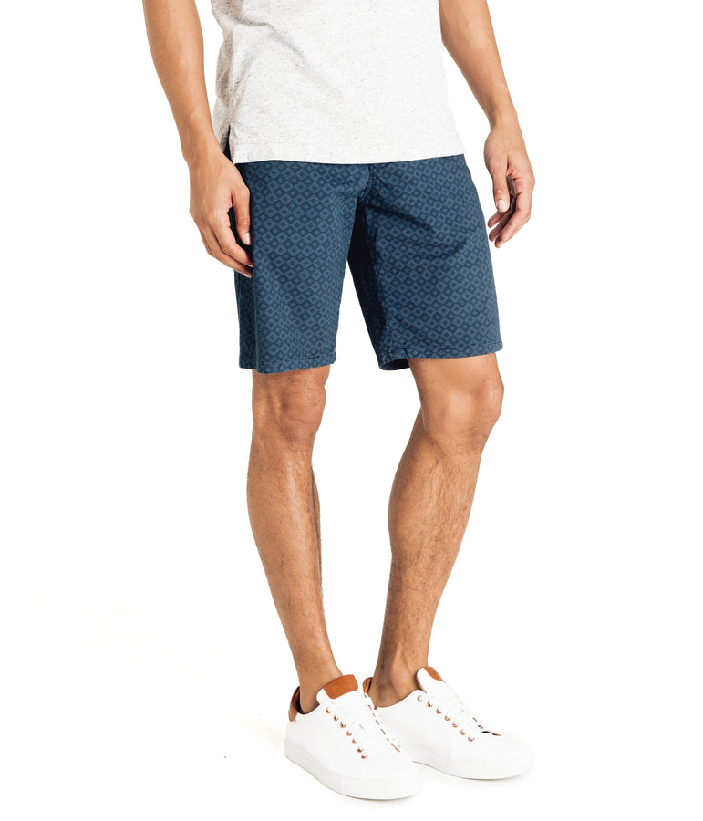 Monaco Diamond Stripe Stretch Twill Wrap Short - Denim Blue - Good Man Brand