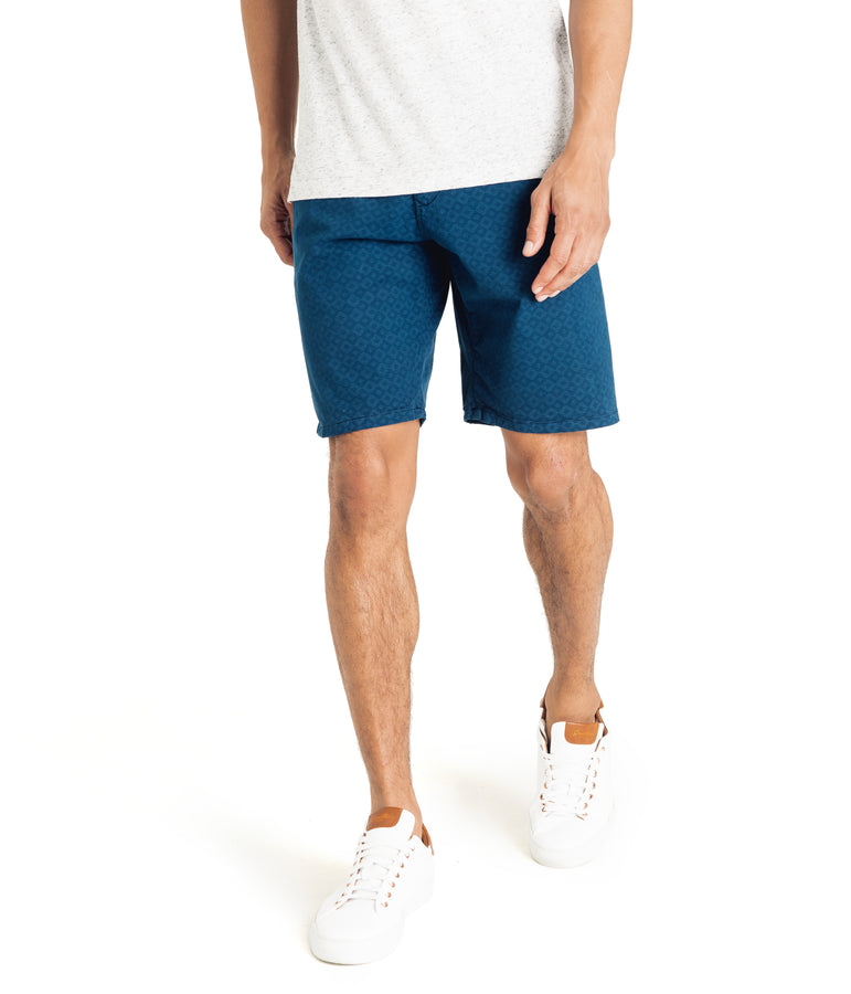 Monaco Diamond Stripe Stretch Twill Wrap Short - Sea - Good Man Brand