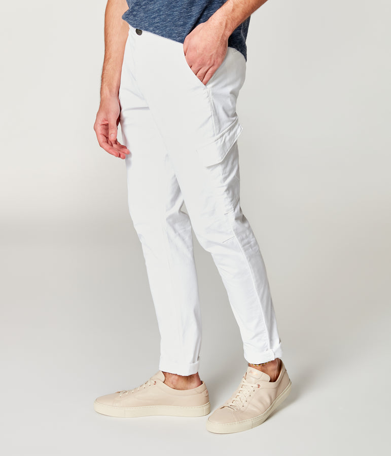 Pro Stretch Twill Star Chino Cargo - Bright White - Good Man Brand