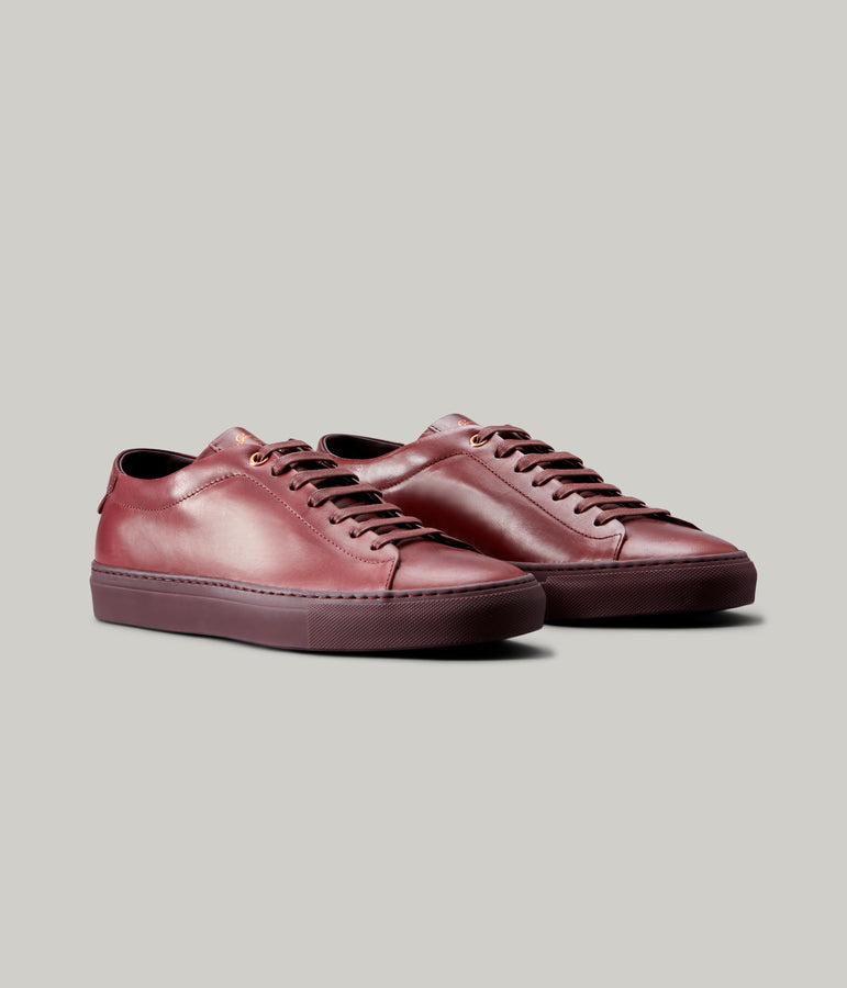 Edge Mono Lo Top Sneaker in Nappa Leather - Burgundy - Good Man Brand