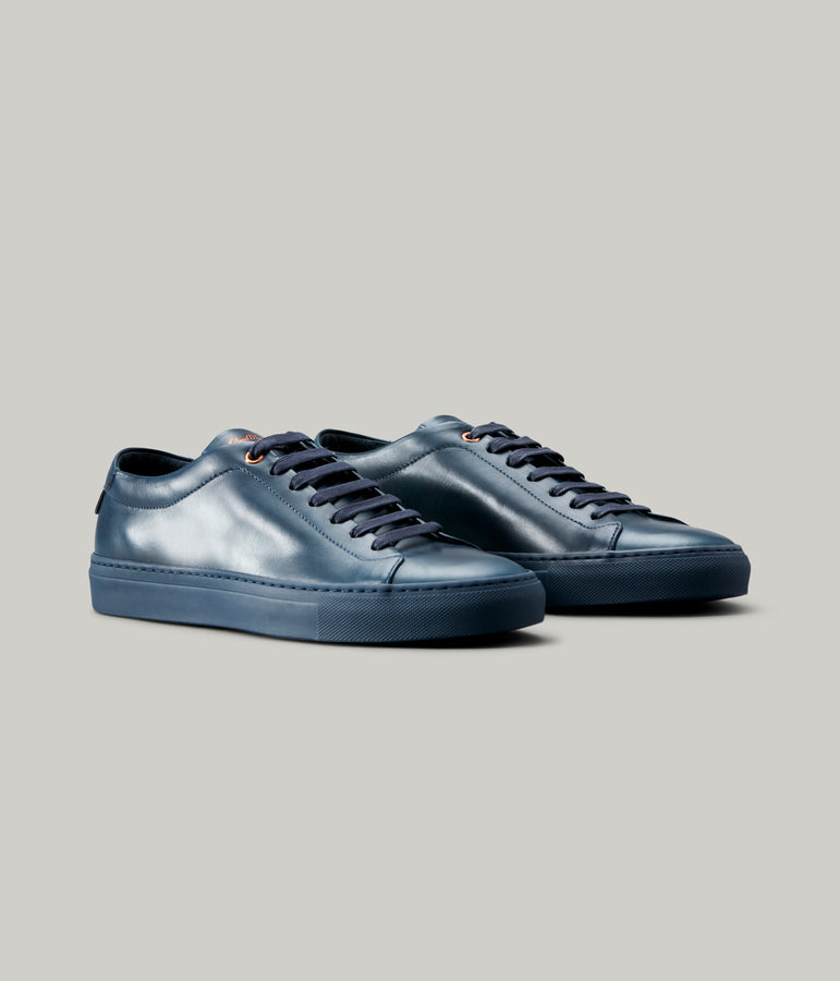 Edge Mono Lo Top Sneaker in Nappa Leather - Navy - Good Man Brand