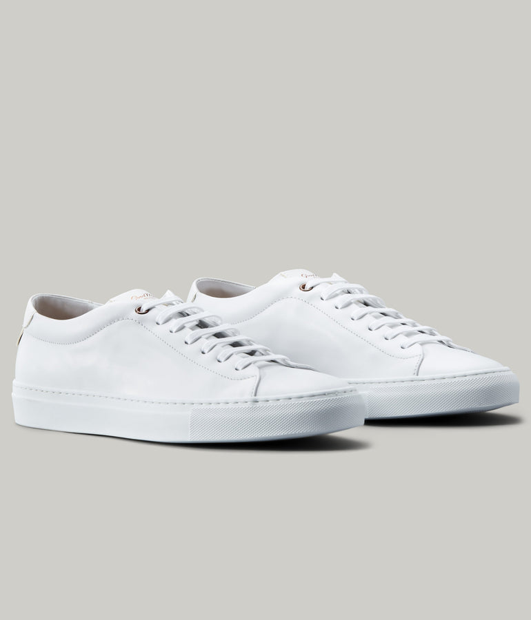 Edge Mono Lo Top Sneaker in Nappa Leather - White - Good Man Brand