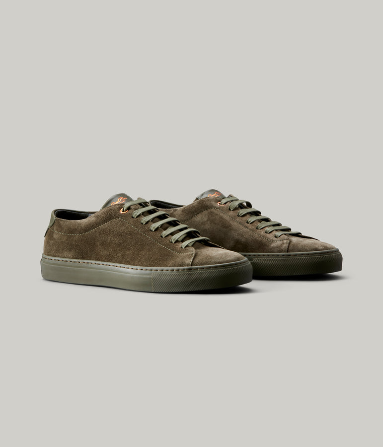 Edge Mono Lo-Top Sneaker in Suede - Olive - Good Man Brand