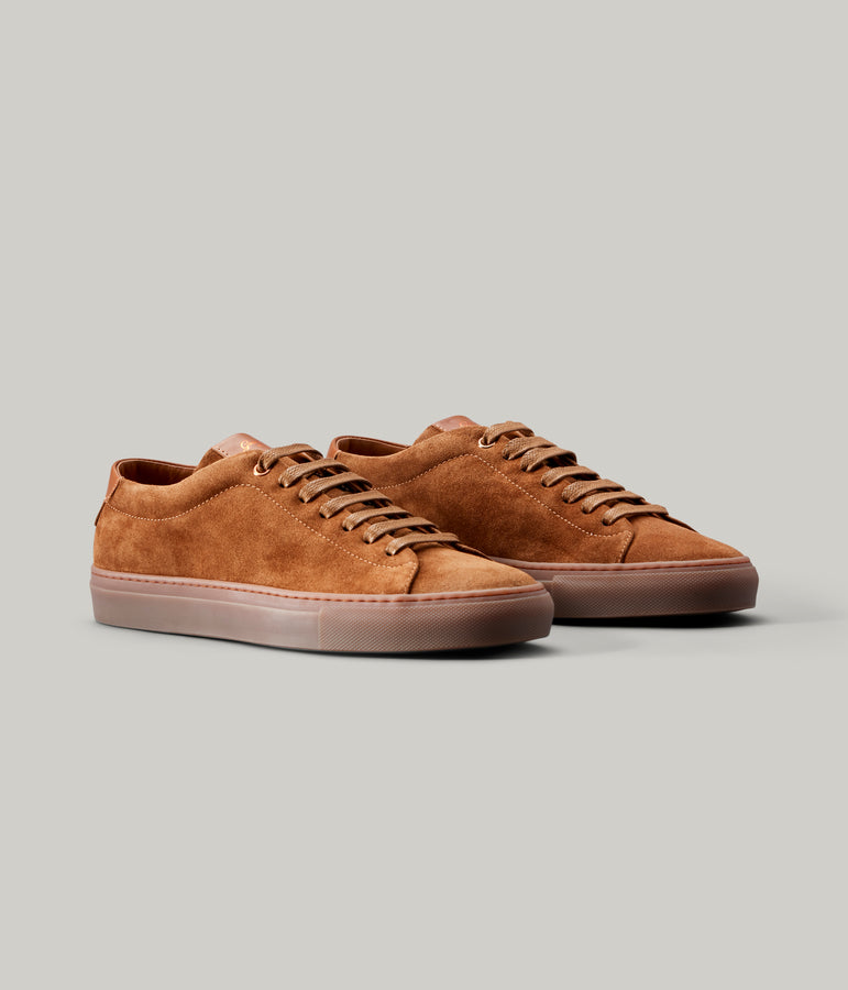 Edge Mono Lo Top Sneaker in Suede - Snuff - Good Man Brand