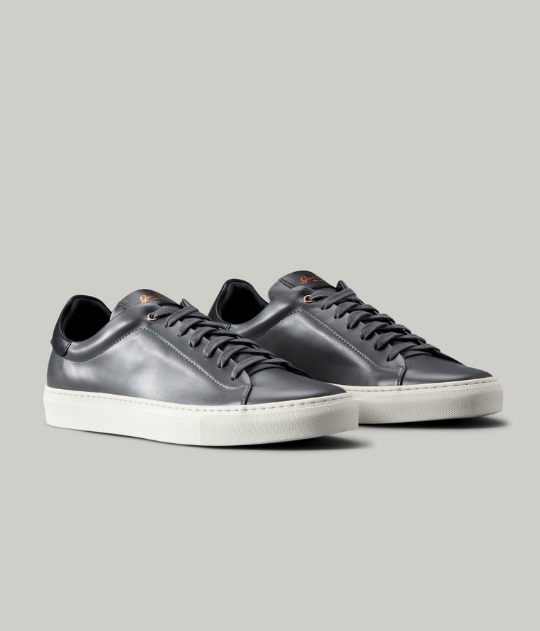Legend Lo Top Sneaker in Nappa Leather - Charcoal / Black - Good Man Brand