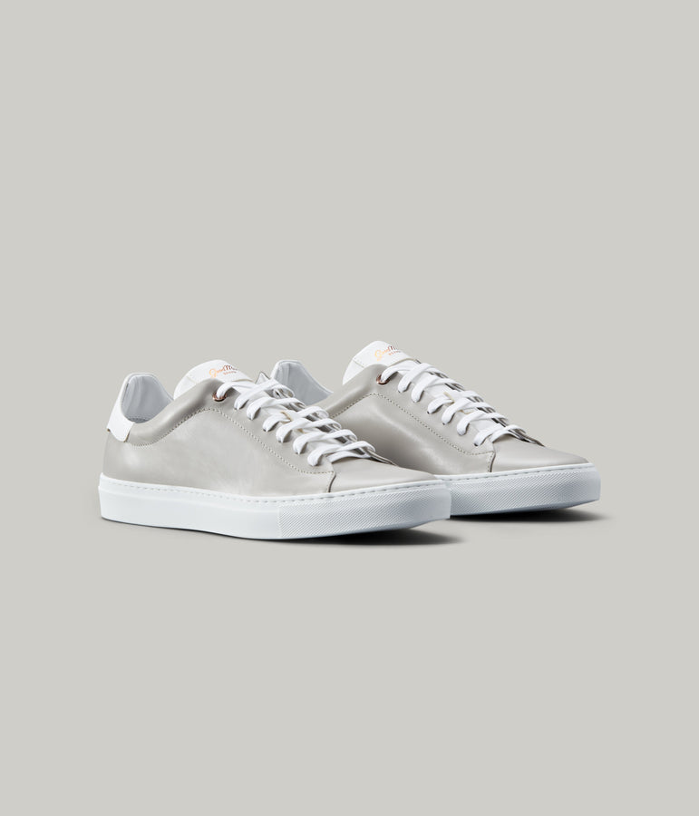 Legend Lo Top Sneaker in Nappa Leather - Silver / White - Good Man Brand