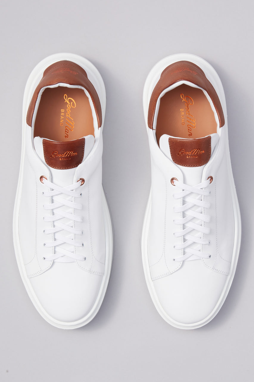 Legend London Classic Sneaker - White / Dark Vachetta - Good Man Brand - Legend London Classic Sneaker - White / Dark Vachetta