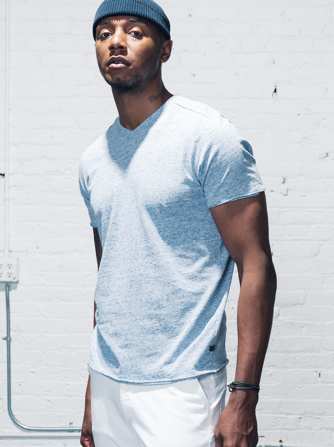 Modern V Neck Tee - Blue Heather - Good Man Brand - Modern V Neck Tee - Blue Heather - Knit Shirts - Good Man Brand