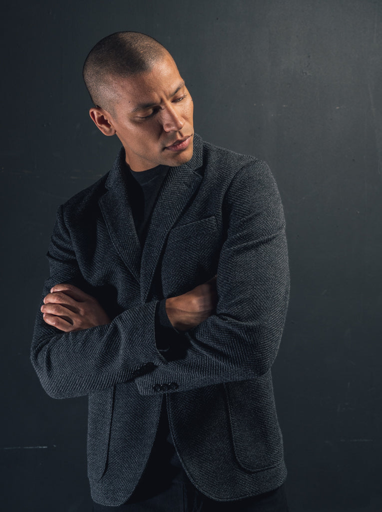 Double Face Herringbone Jersey Soft Blazer - Charcoal - Knitted Blazer - Good Man Brand - LifeMobile