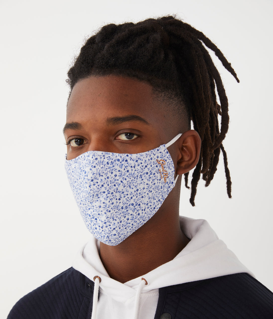 MVP Mask in Premium Italian Cotton - White Micro Daisy - Good Man Brand - MVP Mask in Premium Italian Cotton - White Micro Daisy