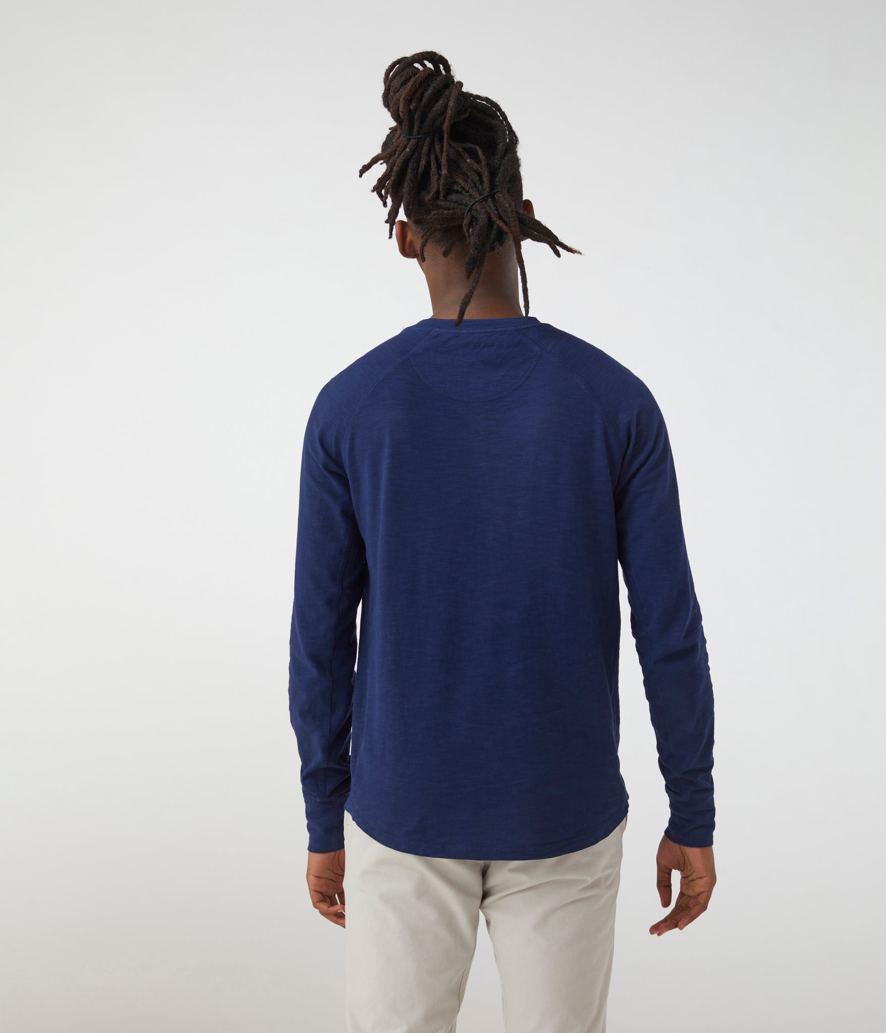 Legend Henley in Soft Slub Jersey - Midnight Blue