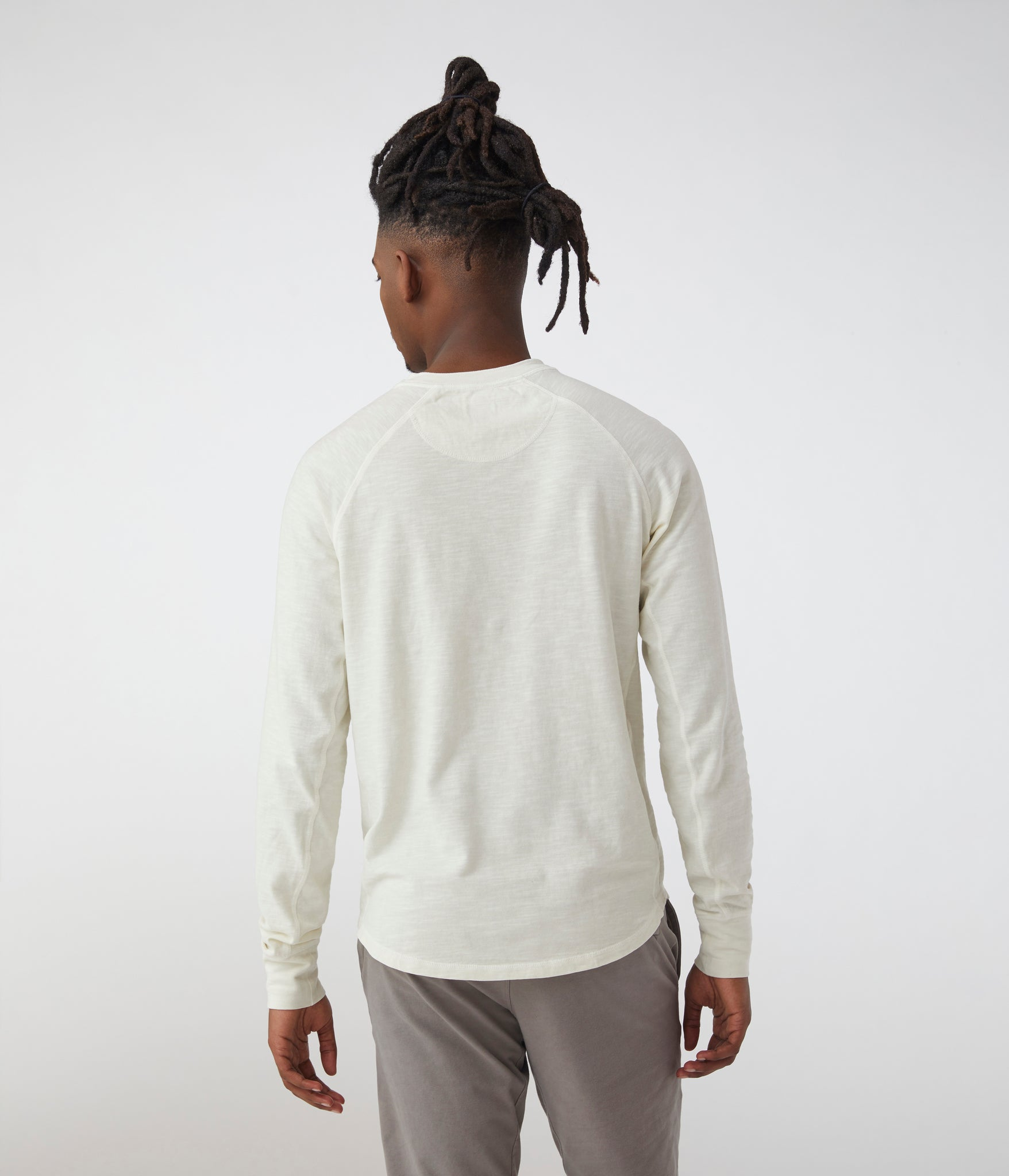 Legend Henley in Soft Slub Jersey - Natural