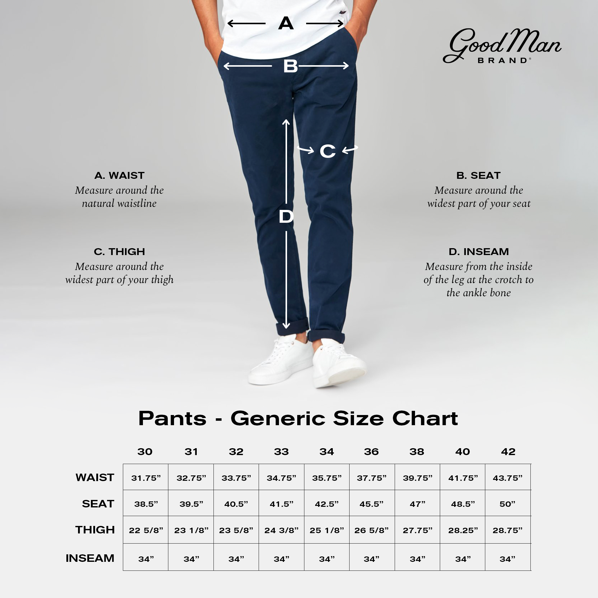 Good Man Brand Fit Guide - Pants Numeric
