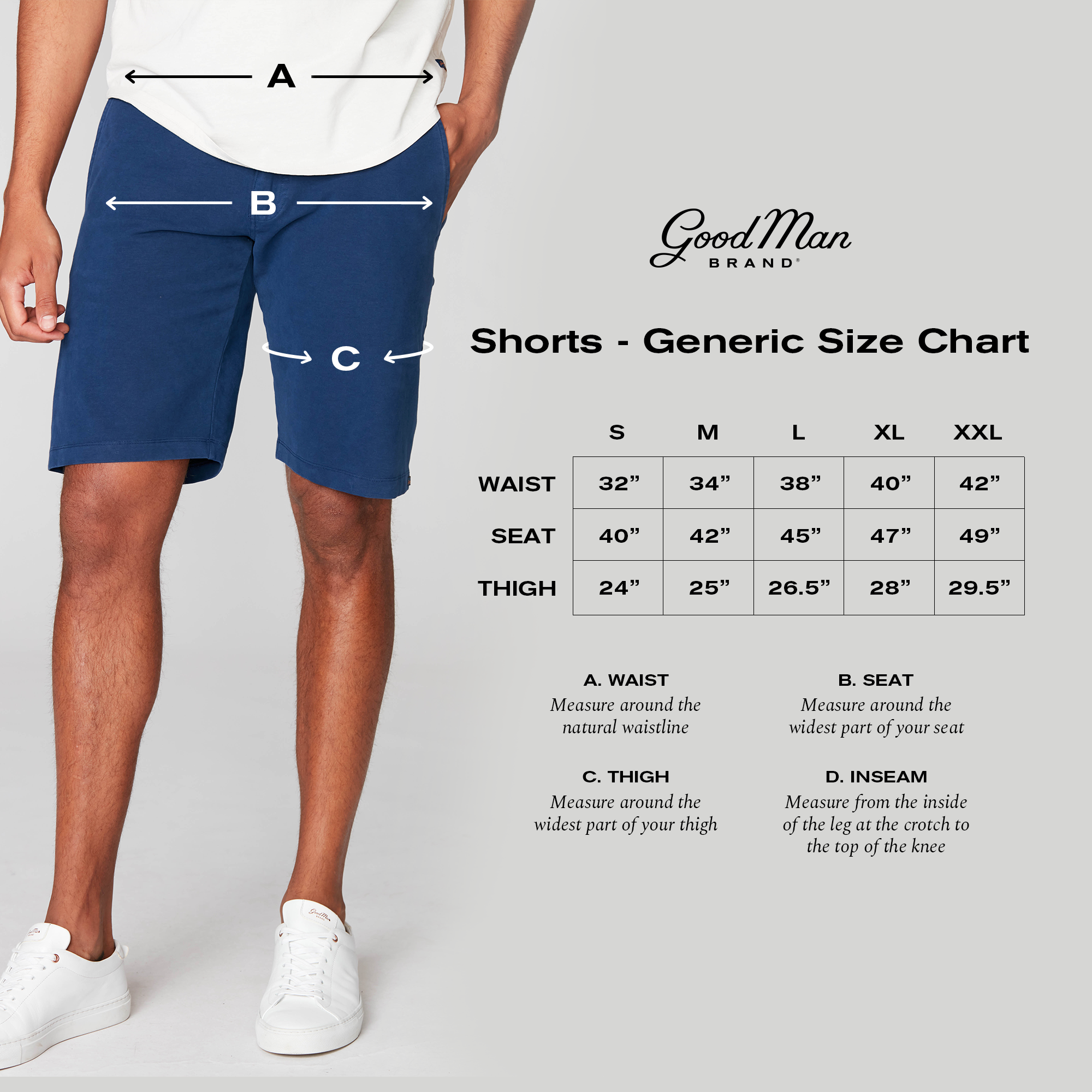 Good Man Brand Fit Guide - Shorts Alpha