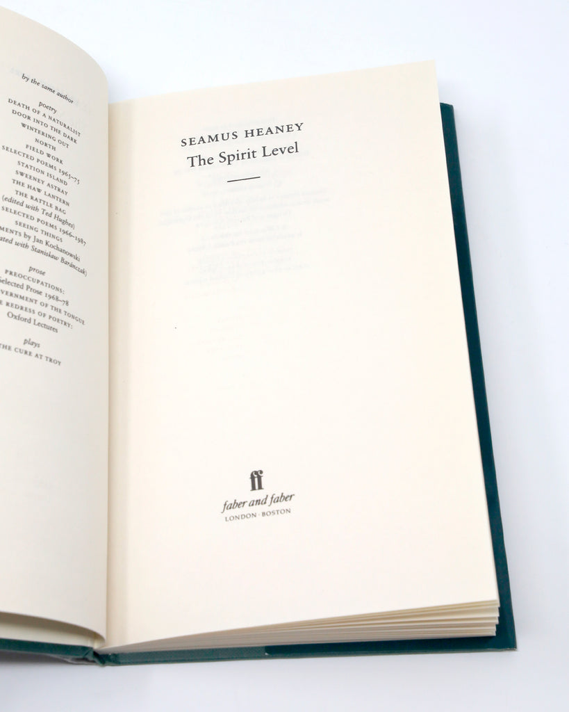 Seamus Heaney The Spirit Level Title Page
