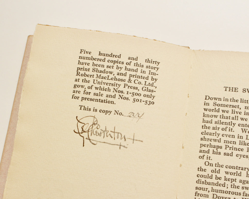 SWORD OF WOOD by G.K. Chesterton (SIGNED)