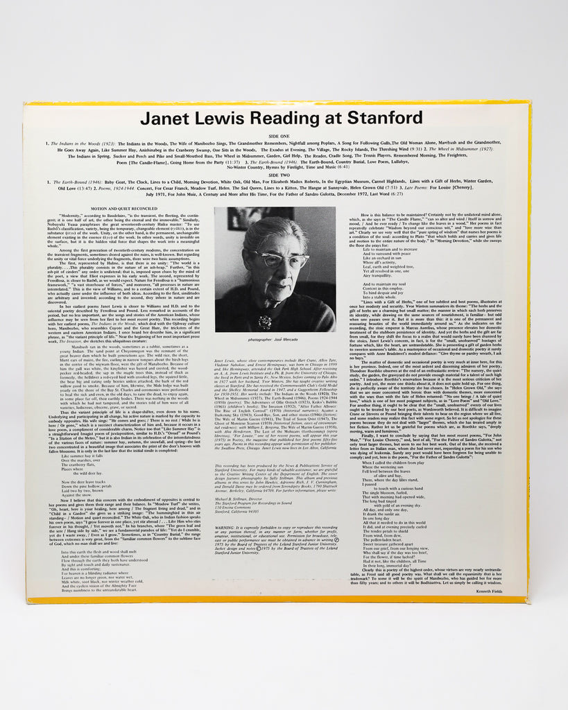 Janet Lewis; Reading at Stanford