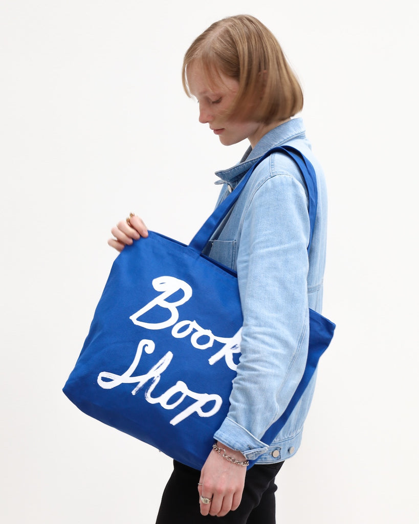 Large Zipper-Top Tote (Blue)