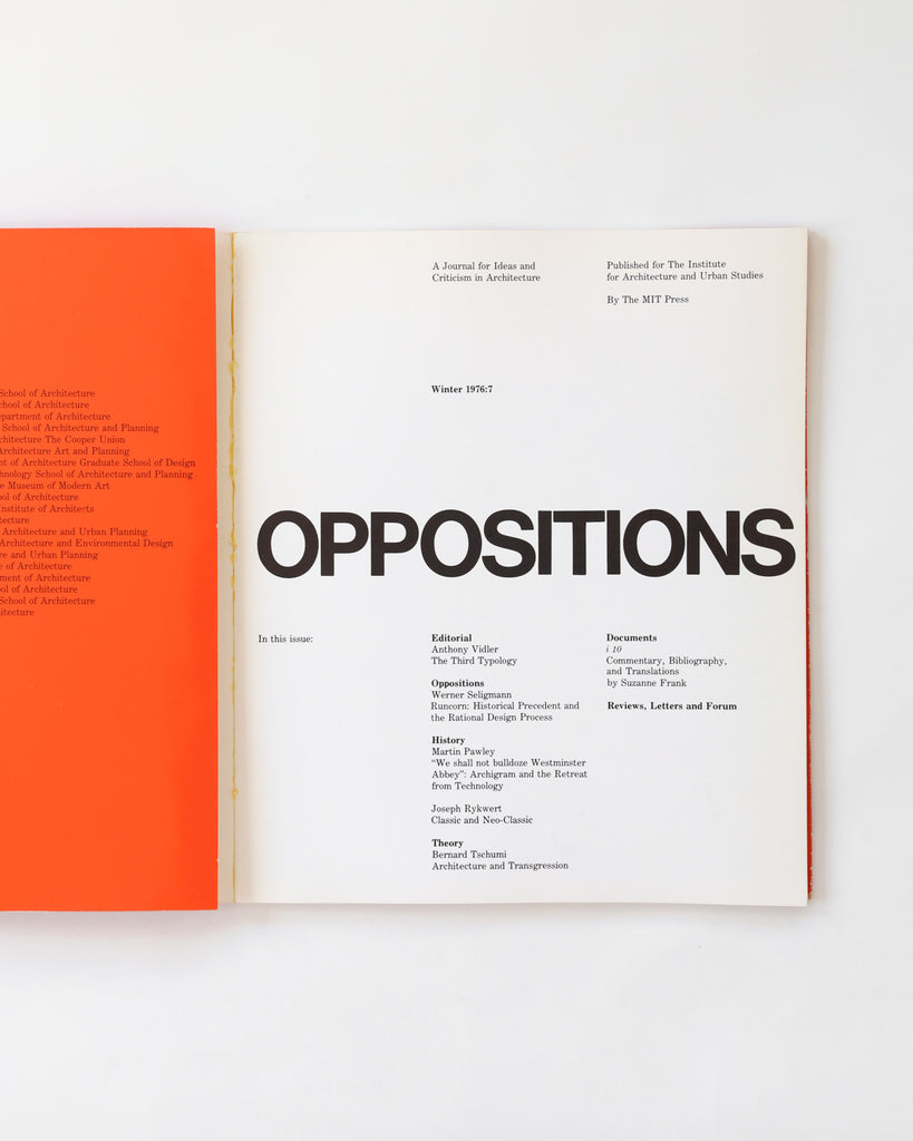 Oppositions: A Journal for Ideas and Criticism in Architecture - Winter 1976