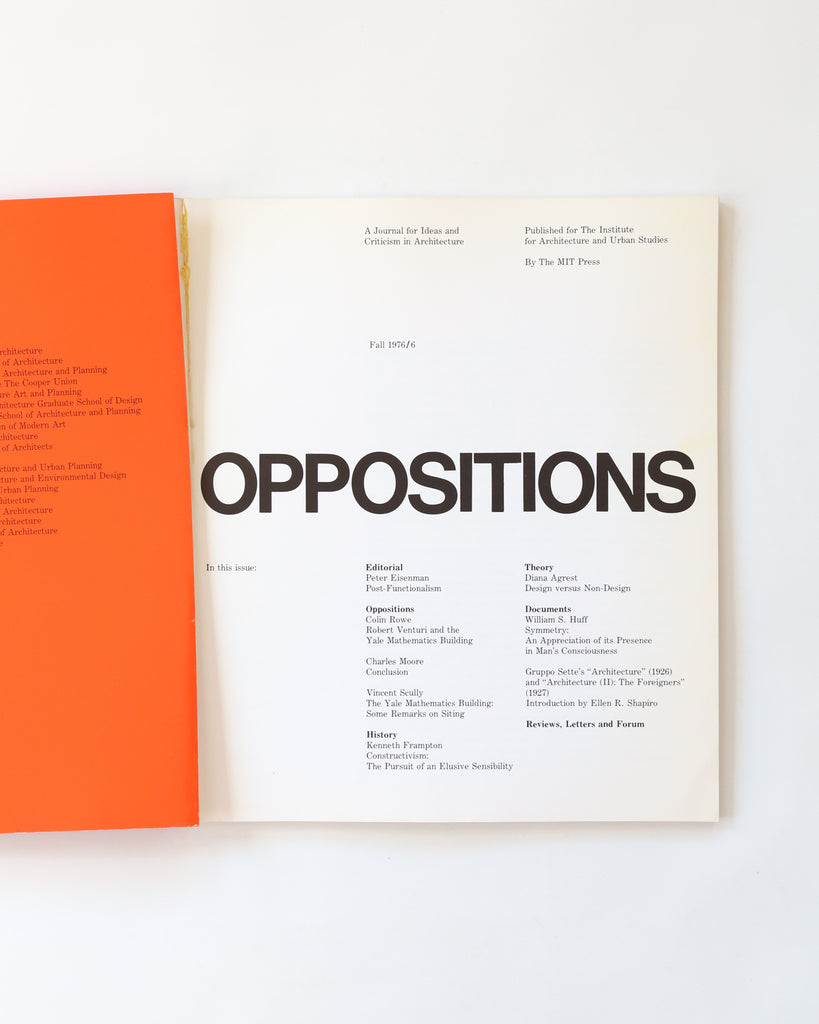 Oppositions: A Journal for Ideas and Criticism in Architecture - Fall 1976