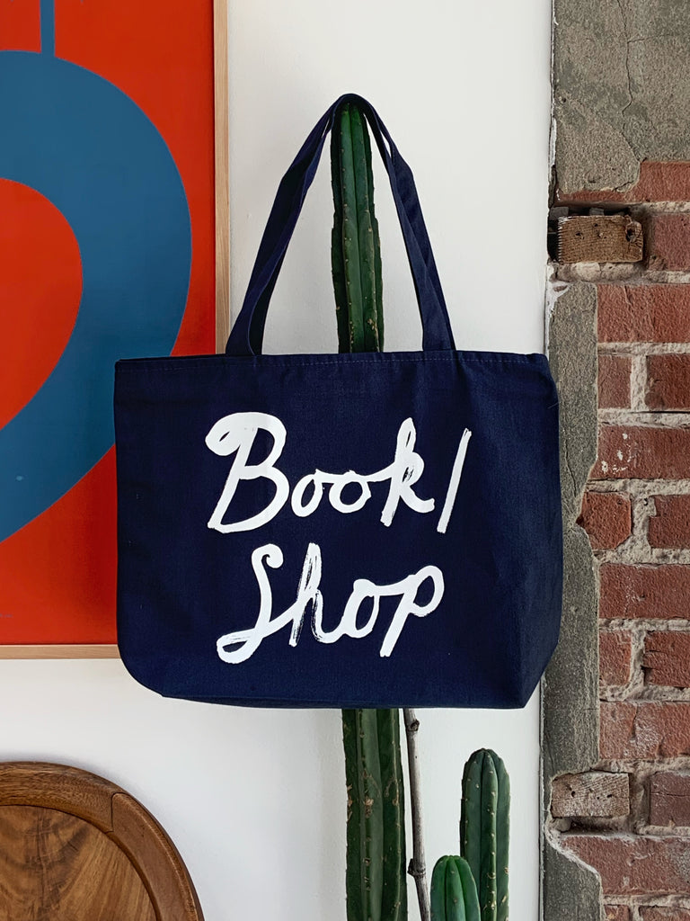 Large Zipper-Top Tote in Deep Navy
