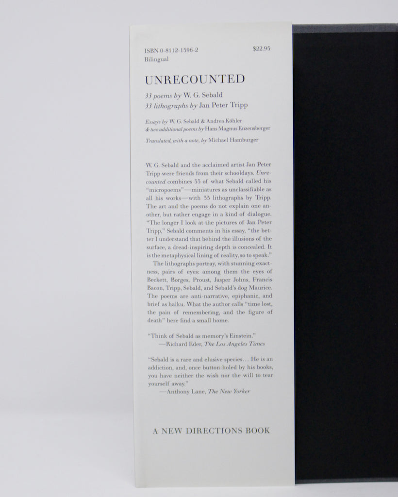 Unrecounted by W.G. Sebald and Jan Peter Tripp