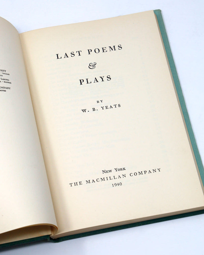 LAST POEMS AND PLAYS BY WILLIAM BUTLER YEATS