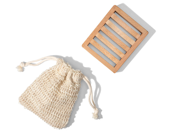 Travel Bag and Soap Tray - CDF Skin Care - soap accessory -  Travel bag and wood soap drying tray