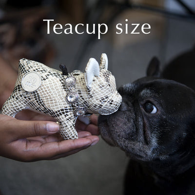 Au Naturel Grey, French Bulldog Standing Plush, Teacup/Small/Large