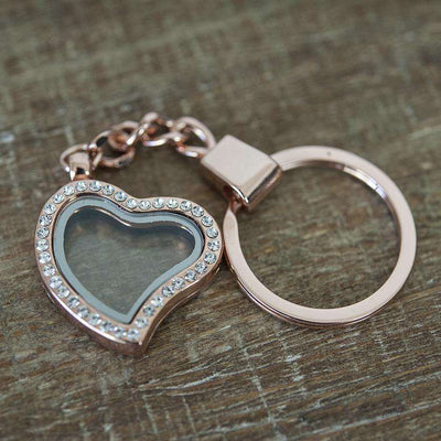 Floating Heart Locket Keychain