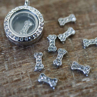 Floating Locket Dog Bone Charm