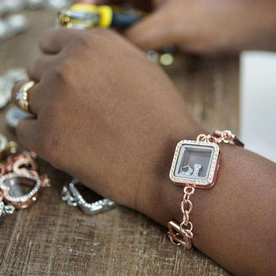 Floating Square Locket Bracelet