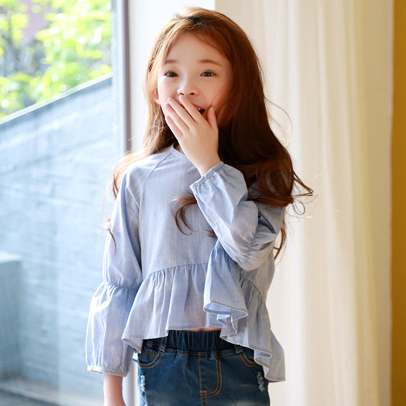 Long Sleeve Ruffles Hem Top