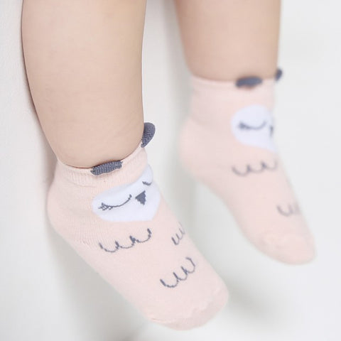 Owls Socks in Peach